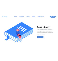 Book library landing page isometric template vector
