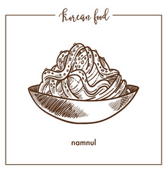 bowl of delicious namnul from traditional korean vector image