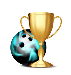 bowling award bowling ball golden cup vector image