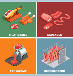 Butcher shop isometric concept vector