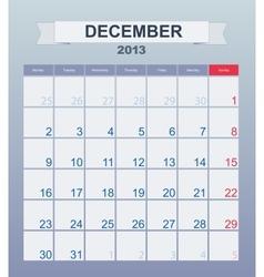 Calendar to schedule monthly december 2013 vector