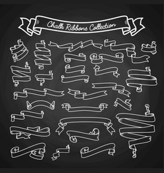 Chalk ribbons collection hand draw on black board vector