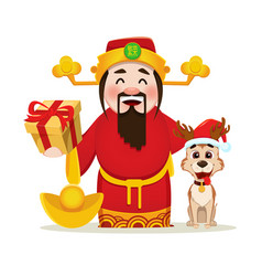 Chinese god of wealth holding gift box and cute vector