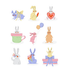 collection cute bunnies sweet rabbits vector image