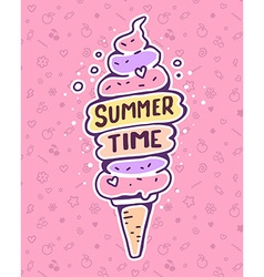 colorful of very high ice cream with inscrip vector image