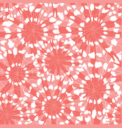 Coral pink red abstract floral shibori vector