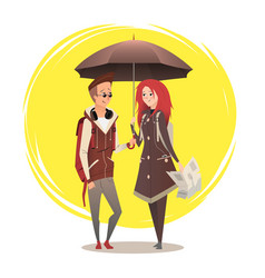 couple under umbrella couple flat design on sunny vector image