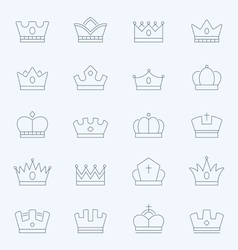 Crown thin outline stroke icons vector image