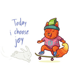 cute baby fox scateboarding fun t shirt vector image