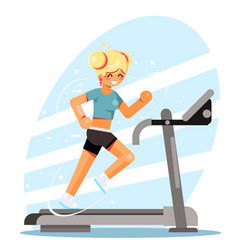 Cute girl running treadmill simulator fitness vector