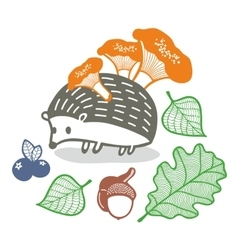 Cute hedgehog with mushrooms vector image