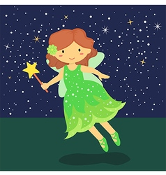 Cute Little Green Fairy vector image
