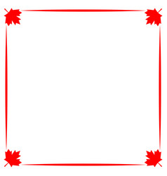 Decorative canadian border with red maple leaf vector
