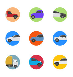 different vehicles flat icons vector image