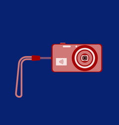 digital camera with wifi and with wrist strap on vector image