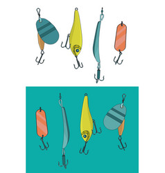 floating minnow fishing hard lure color set vector image