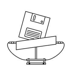 Floppy nineties retro style isolated icon vector