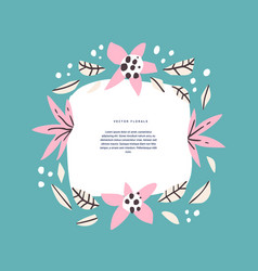 floral circle with text space hand drawn template vector image