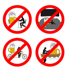 forbidden to drink alcohol in public places stop vector image