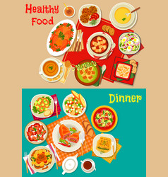 Fresh salad soup and meat dishes icon set design vector