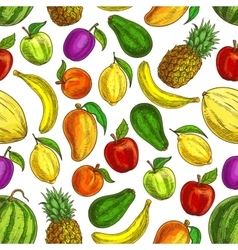 fruit seamless pattern tropical fruits vector image