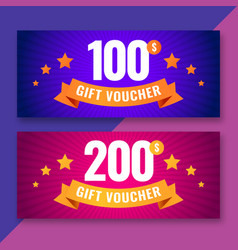Gift voucher template 100 and 200 dollars coupons vector