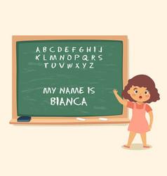 Girl writting blackboard chalk school vector