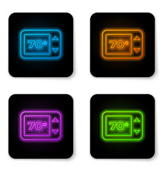 glowing neon thermostat icon isolated on white vector image