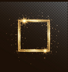 glowing square frame with glitter sparkle and vector image