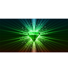 Green crystal background with stars vector image