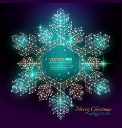 green polygonal snowflake with flares for merry vector image