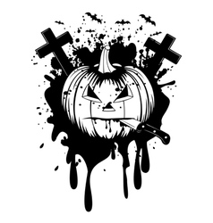 halloween pumpkin with knife vector image