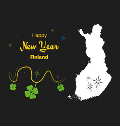 Happy new year theme with map of finland vector