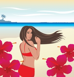 Hot bikini girl on beach vector image
