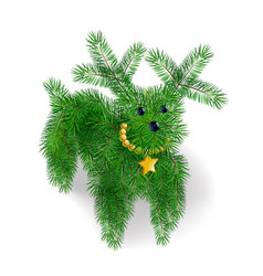 icon puppy of christmas tree branches vector image