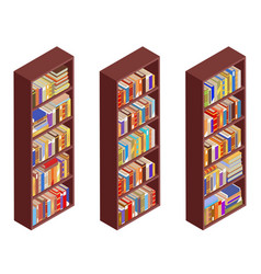 isometric bookshelf isolated vintage 3d flat vector image