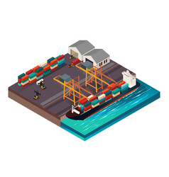 isometric design a shipping port vector image