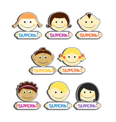 Kids with superb label plates set vector