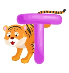 Letter T with tiger animal for kids abc education vector