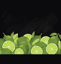 Lime fruit composition on chalkboard vector