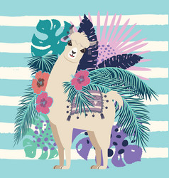 llama with exotic leaves and flowers vector image