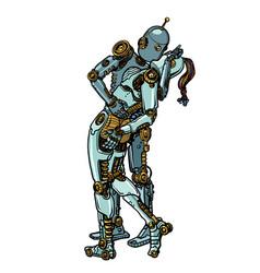 loving couple robots kissing vector image