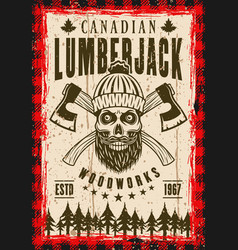 Lumberjack poster with bearded skull vector