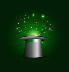 Magician performance attributes on glowing green vector