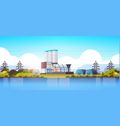 manufacturing factory buildings near river or sea vector image