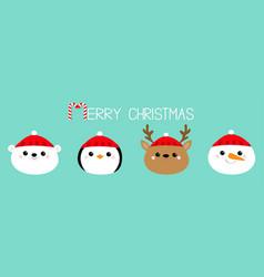 Merry christmas white polar bear penguin deer vector