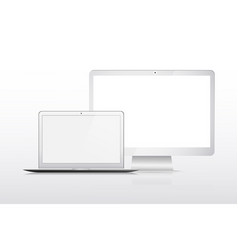 Modern laptop mobile and technology device mockup vector