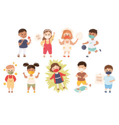 new normal lifestyle with happy kids wearing face vector image