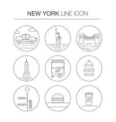 new york thin line icon set vector image