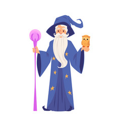 Old wizard man in robe and hat stands holding vector